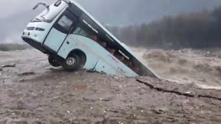 Bus Gets Taken By Massive Flood