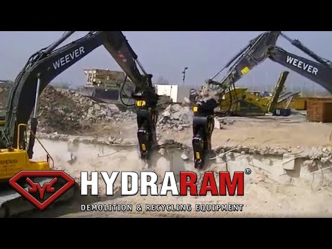 Hydraram HRP-28V Rotating Pulverizer mounted on Volvo EC-300 excavator