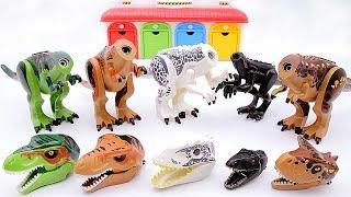Toy Dinosaurs for Kids! Jurassic World Dinosaur Lego Toys. Indominus Rex Indoraptor Triceratops