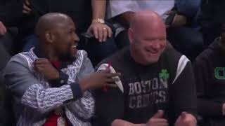 MAYWEATHER AND DANA WHITE SAT SIDE BY SIDE AT THE CLIPPERS CELTICS GAME #MAYWEATHER #CLIPPERS #NBA