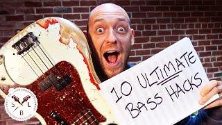Top 10 ULTIMATE Bass Guitar Hacks... in Under 10 Minutes!