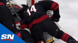 Justin Williams Takes A Swing At David Backes While He Was Down During Scrum