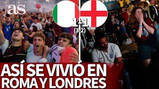 ITALIA 1- INGLATERRA 1 (3-2) Así lo vivieron los fans: Enajenación en Roma y drama en Londres | AS