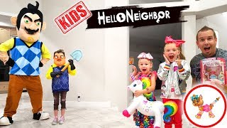Hello Neighbor Kid in Real Life Steals My JoJo Bow Bow Twisty Petz! Toy Scavenger Hunt!