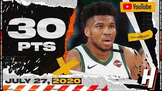 Giannis Antetokounmpo 30 Points 8 Reb Full Highlights | Pelicans vs Bucks | July 27, 2020