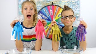 MYSTERY WHEEL OF SLIME GLOVES CHALLENGE!!!