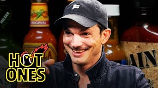 Ashton Kutcher Gets an Endorphin Rush While Eating Spicy Wings | Hot Ones