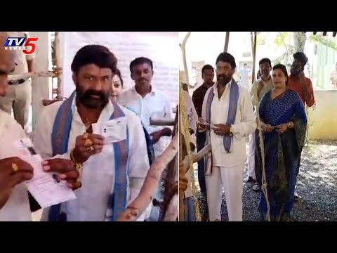 MLA Balakrishna and his wife cast their vote in Hindupur