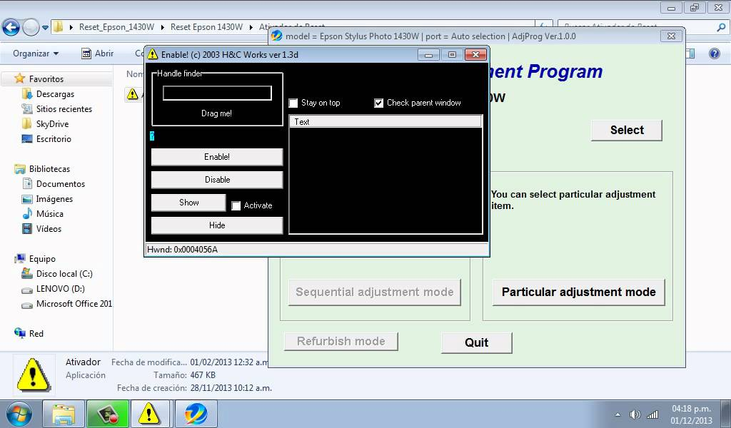 Reset da Epson l1300 L355 baixar Programa