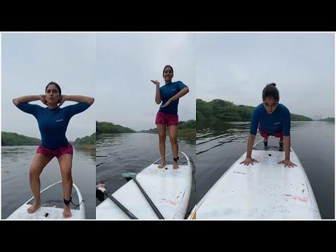 Actress Regina Cassandra pushups on boat, watch it