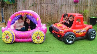 kids Pretend Play with Princess Carriage Inflatable Toy