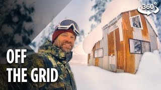 Living Off The Grid In A Snowboarder's Tiny Cabin (360 Video)