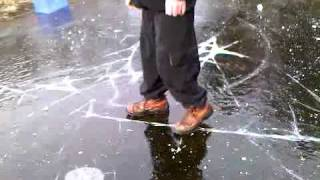 walking around on a partially frozen pond FAIL