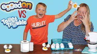 Toilet Trouble VS Egged On Challenge || Family Fun Pack Game Night Parent Edition