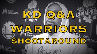 "Entire KD (DURANT) Q&A: basketball ""therapeutic"" (Cliff Dixon); not predetermine pts/assists; Q.Cook"