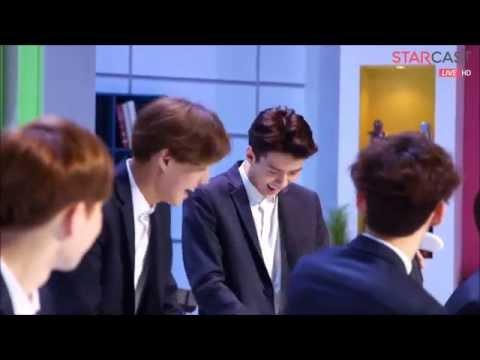Sehun and D.O. Aegyo @ 150406 Naver Starcast EXO
