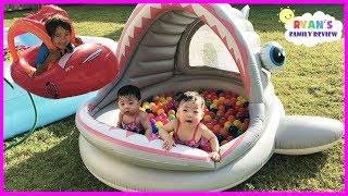 Babies and Kids Family Fun Shark Pool Time with Color Balls! Ryan's Family Review