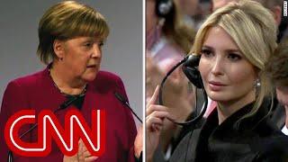 Merkel hammers Trump as Ivanka looks on