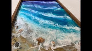 107 - Epoxy Resin Art - Step by Step Tutorial - Ocean, Beach, Sand & Movement