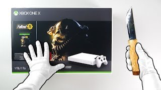 """Xbox One X """"WHITE"""" Special Edition Console Unboxing (Fallout 76 Bundle) Gameplay"""