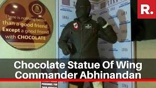 Chocolate statue of Wing Commander Abhinandan Varthaman wi..