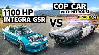 1,100hp Integra GSR vs. a Big Block Police Car '67 Cuda, Import/Domestic Battle! // This vs. That