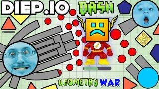 DIEP.IO TANK WARS + GEOMETRY DASH FLASH Version IMPOSSIBLE GAME (FGTEEV Hyper DERPY IO Game Fun!)