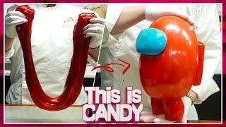 [설탕공예] 슈가슬라임으로 만든 초대형 어몽어스 캐릭터 사탕 만들기!! / Giant Among Us Character Candy making with Sugar Slime