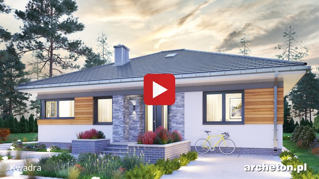 Projekt Domu Kwadra Piękny Dom Parterowy Z 3 Pokojami I