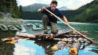 Bushcraft Survival Raft Part 2 - Day 28 of 30 Day Survival Challenge Canadian Rockies
