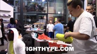 FLOYD MAYWEATHER CLEARS OUT SHOE STORE TO BUY NEW KICKS; SURROUNDED BY BEAUTIFUL WOMEN AND FANS