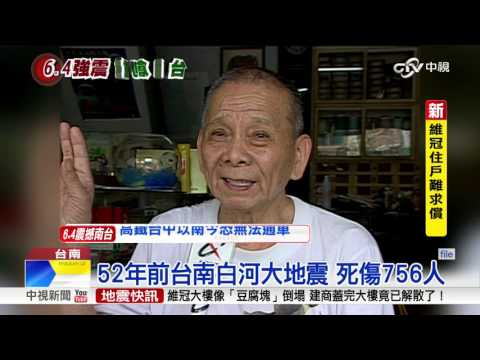 台南強震 規模深度類似白河大地震│中視新聞 20160206