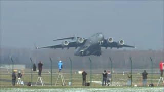 [HD] USAF Boeing C-17 Globemaster powerful takeoff at Zurich Airport - 23/01/2016