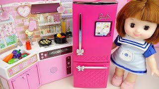 Baby Doll kitchen cooking play and refrigerator food play