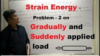 Strain Energy - Problem - 2 on Gradually and Suddenly applied load [ Hindi ] - Strength of Materials