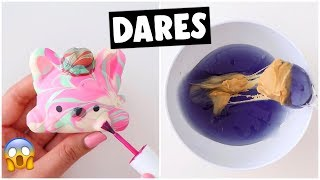 EXTREME SLIME & SQUISHY DARES?! *making peanut butter & jelly slime*