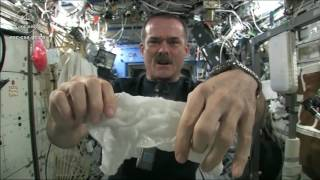 Wringing out a Water Soaked Washcloth in Space!