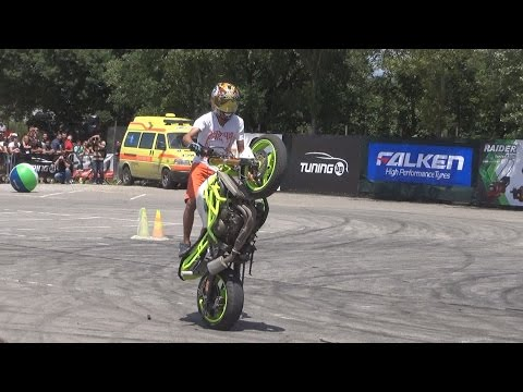 Motorcycles drift at Tuning BG Show 2016 in 3D