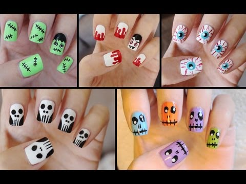 Five Cute & Easy Halloween Nail Tutorials! - YouTube