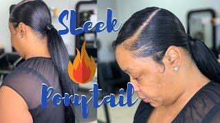 22 inch sleek ponytail using 10 inch hair | Murray's beez wax | Swoop ponytail