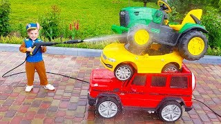 Funny Max washing cars Ride on POWER WHEEL Tractor, Red Car