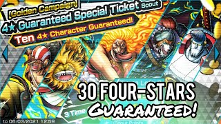 ALL FOUR-STARS! Golden Campaign Ticket [x30 Pulls] Summons! One Piece Bounty Rush (OPBR)