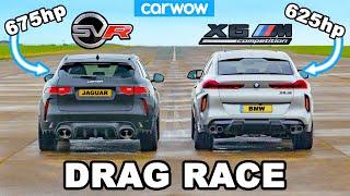 BMW X6M vs 675hp Jaguar F-Pace SVR 'Lister': DRAG RACE