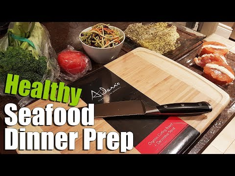 Seafood Salad Dinner Prep with Natural Bamboo Cutting Board