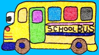 School Bus for Kids | Foam Clay coloring, clay drawing
