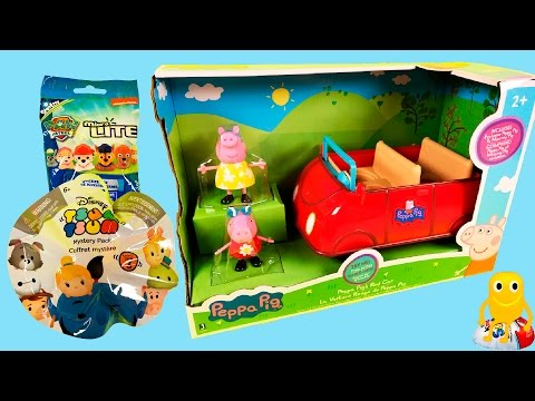 TOYS SURPRISE Peppa pig Red car Lets play Tsum Tsum Paw Patrol Disney Funtoys