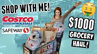 HUGE Monthly Grocery Shop With Me + Costco Haul   Large Family Food Shopping Trip!