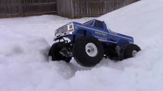 TRAXXAS BIGFOOT Going On Snow Trail!!