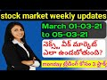 weekly stock market updates in telugu| as on date 01-03-2021 to 05-03-2021|nifty and bank nifty
