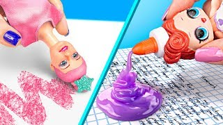 12 Weird Ways To Sneak Barbie Dolls Into Class / Clever Barbie Hacks And LOL Surprise Hacks